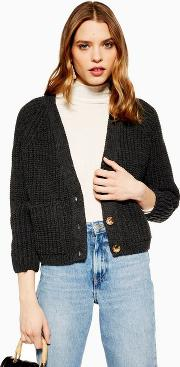 Petite Button Cropped Cardigan