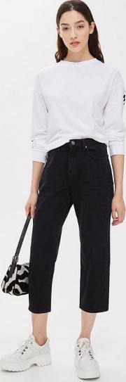 Petite Washed Black Straight Crop Leg Jeans