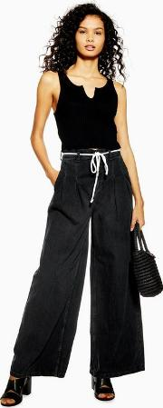 Pleat Tie Wide Leg Jeans