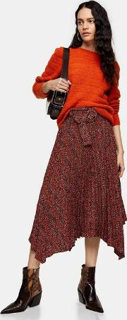 Red Leopard Print Belted Pleat Midi Skirt
