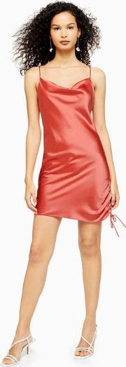Ruched Mini Satin Slip Dress