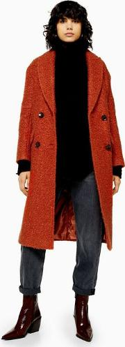 Rust Boucle Double Breasted Coat