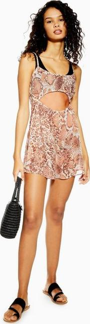 Snake Print Cut Out Playsuit