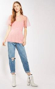 Spot Mesh Belted Batwing Top