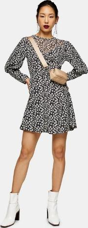 Tall Black And White Twist Grunge Mini Dress