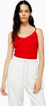Tall Red Lace Ribbed Cami