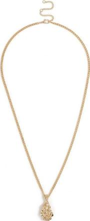 Textured Charm Long Rope Necklace