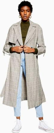 Textured Check Trench Coat