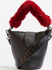 Womens Anya Faux Fur Handle Bucket Bag