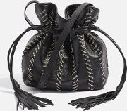 Womens Mia Leather Chain Bucket Bag