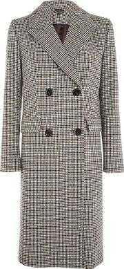Womens Petite Check Overcoat
