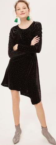 Womens Petite Velvet Flippy Dress