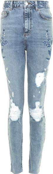Womens Tall Tonal Embroidered Straight Leg Jeans