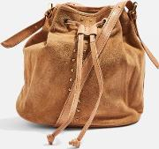 Womens Tara Studded Suede Leather Bucket Bag