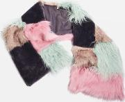 Womens Zeus Patchwork Faux Fur Scarf