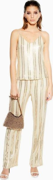 Eifel Cream And Gold High Waisted Trousers
