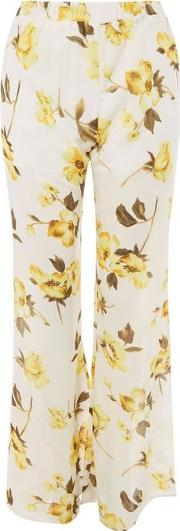 Sasika Yellow Floral Flared Trousers