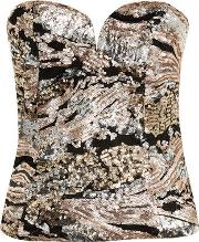 Womens Fly By Rose Gold Sequin Bustier Top By Wyldr