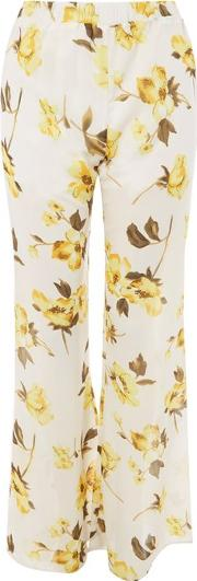 Womens Sasika Yellow Floral Flared Trousers By Wyldr