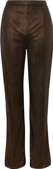 Womens Standards Metallic Textured Plazzo Trousers By Wyldr