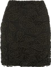 Womens 'ticking On' Black And Gold Mini Skirt By Wyldr