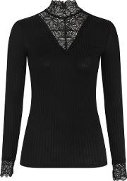Womens High Neck Long Sleeve Lace T Shirt By Yas
