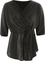 Womens Plisse Wrap Top By Yas