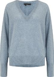 Callie V Neck Jumper In Stonewashed
