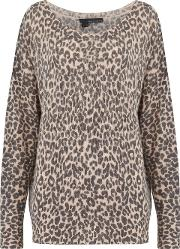 Paris Animal Print Jumper In Shell And Charcoal