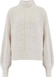 Cashmere Blends Cable Sleeve Mock Jumper In Cream