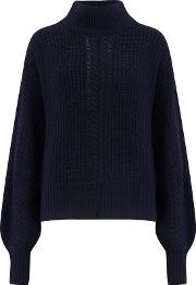 Cashmere Blends Cable Sleeve Mock Jumper In Peacoat
