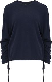 Crew Neck Jumper With Drawstring Sleeves In Navy