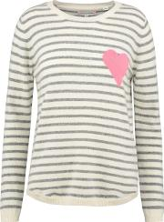 Breton Heart Sweater In Pink And Cream
