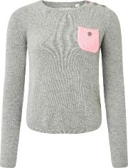 One Pocket Sweater In Grey With Pink
