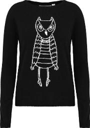 Owl Outline Sweater In Navy And Cream