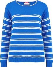 Crew Neck Stripe Jumper In Electric Blue And Grey