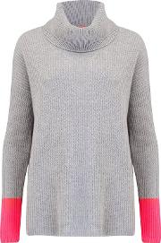 Funnell Rib Neck Jumper In Grey And Pink