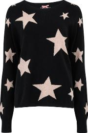 Lurex Star Jumper In Black, Oatmeal And Copper