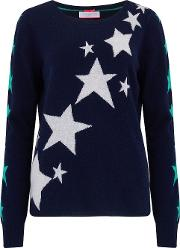 Trailing Star Jumper In Navy,cloud And Mint