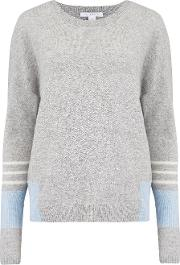 Linen Cashmere Jumper In Brume, Indigo And White