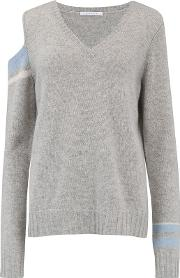 Shoulder And Cuff And Coloured Jumper In Grey