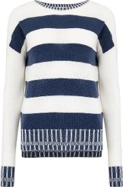 Stripe Boat Neck Jumper In Ivory And Marina