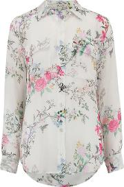Signature Garden Soiree Print Shirt In Nature White