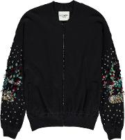 Palermo Sequined Bomber Cardigan In Blue