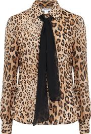 Pussy Bow Blouse In Camel Animal Print