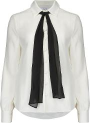 Pussy Bow Blouse In Off White