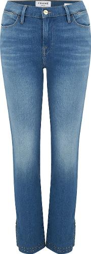 Le High Straight Jean In Leopold With Studs