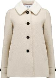 Loden Coat With Fur Collar In Cream
