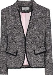 Amelia Notch Collar Jacket In Navy And Pink