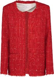 Quespo Jacket In Red & Ecru
